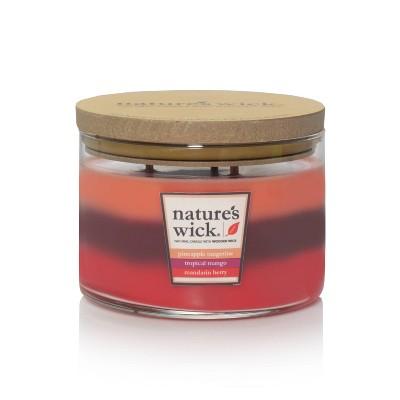 18oz Glass Jar 3-Wick Candle Pineapple Tangerine/Tropical Mango/Mandarin Berry - Nature's Wick