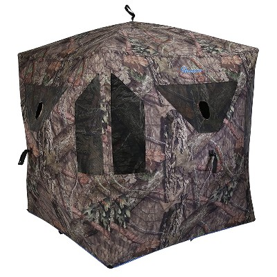 Ameristep AMEBF0247 Element 3 Person Outdoor Fire Resistant Ground Deer Hunting Blind with ShadowGuard Interior, Mossy Oak