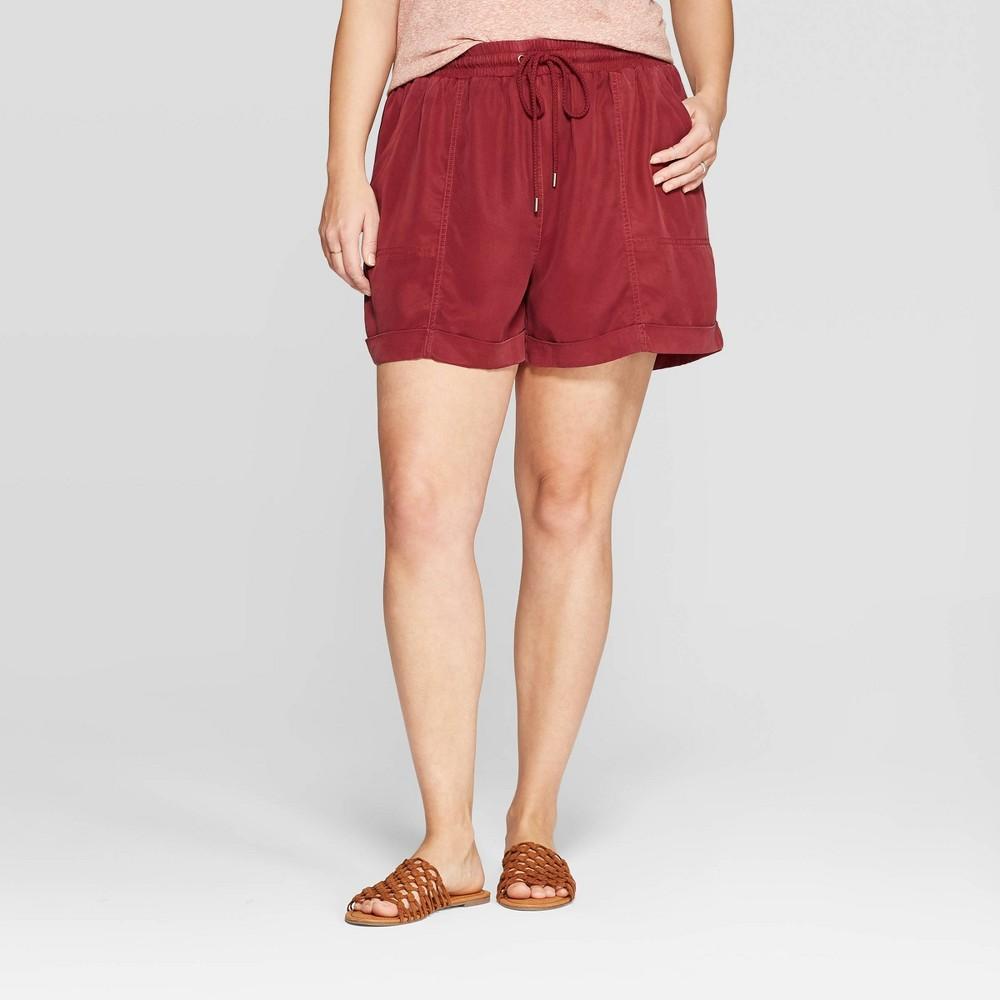 0b6ac72fd7 Womens Plus Size Mid Rise Utility Shorts Universal Thread Burgundy Red 2X