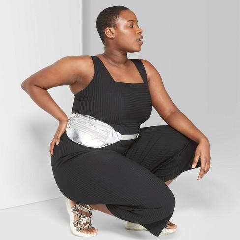 Women's Plus Size Strappy Square Neck Knit Jumpsuit - Wild Fable™ Black - image 1 of 3