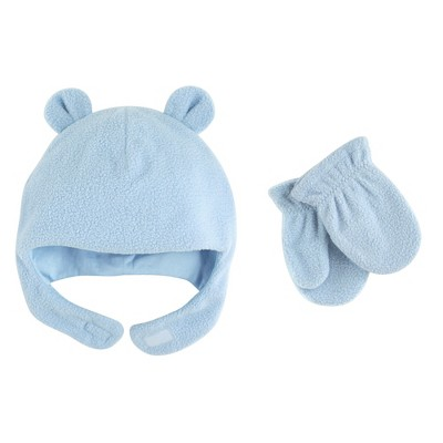 Luvable Friends Toddler Boy Beary Cozy Hat and Mitten Set 2pc