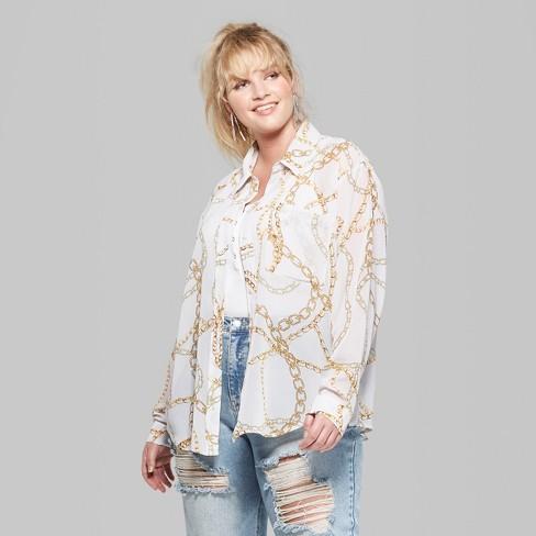 6cd1bc6ea05 Women s Plus Size Long Sleeve Button-Down Chain Print Shirt - Wild Fable™  White