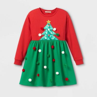 Girls' Christmas Tree Pom Dress - Red/Green
