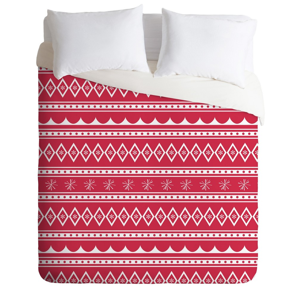 Red Craftbelly Retro Holiday Duvet Cover Set Twin Deny Designs