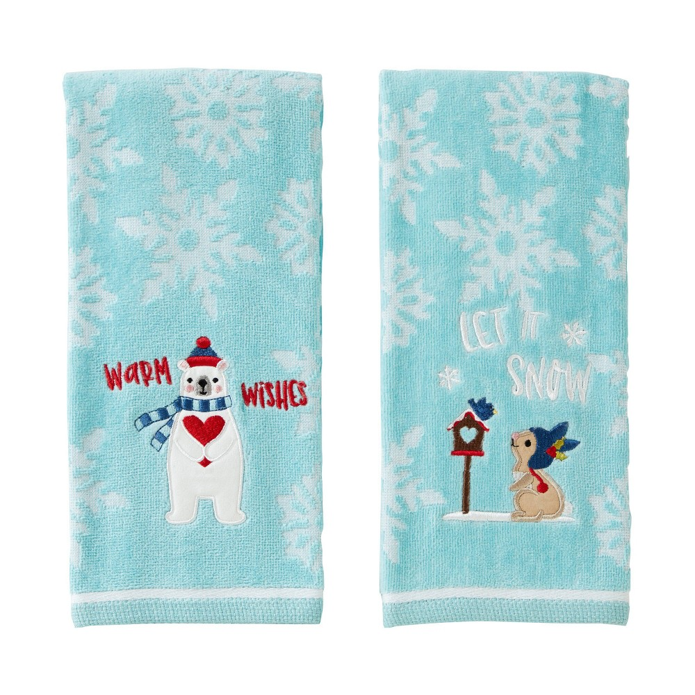 Image of 2pc Bunny/Bear Hand Towel Set Teal - SKL Home, Green