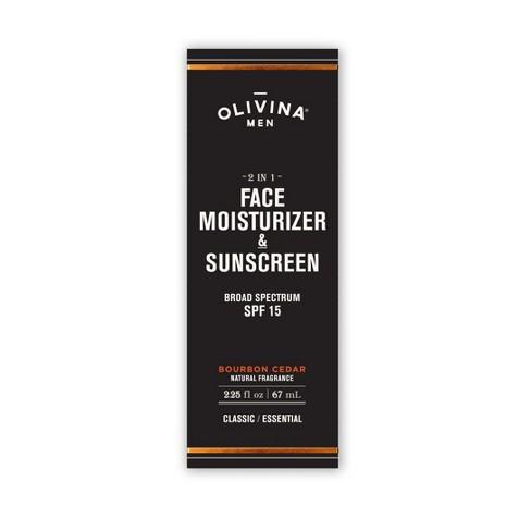 Olivina Men 2 in 1 Face Moisturizer & Sunscreen Bourbon Cedar - 2.25oz - image 1 of 2