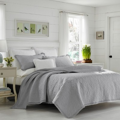 Full/Queen Gray Heirloom Crochet Quilt Set - Laura Ashley