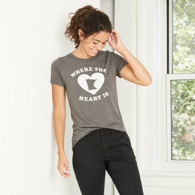 Women's Short Sleeve Minnesota Where the Heart Is Graphic T-Shirt - Awake Heather Gray