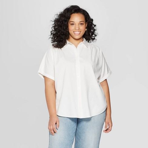 25653d9f4a13e Women s Plus Size Striped Short Sleeve Camp Shirt - Universal Thread™ White    Target
