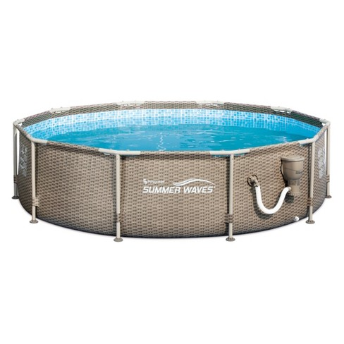 Summer Waves 10ft x 30in Frame Swimming Pool with Exterior Wicker Print, Tan - image 1 of 3
