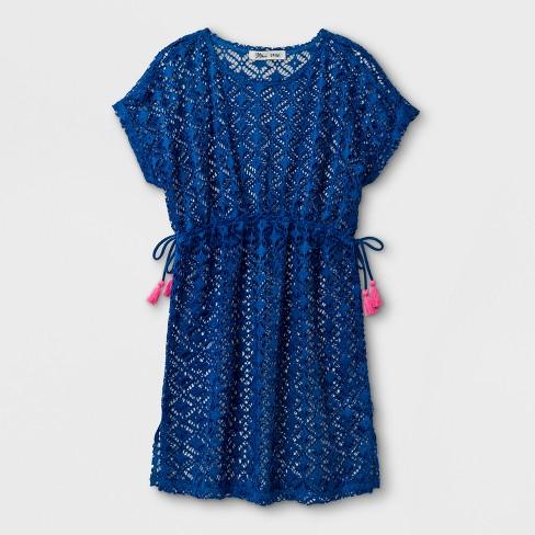 dc0c03e065 Miken Girls  Crochet Tassel Trim Cover Up Dress - Blue   Target