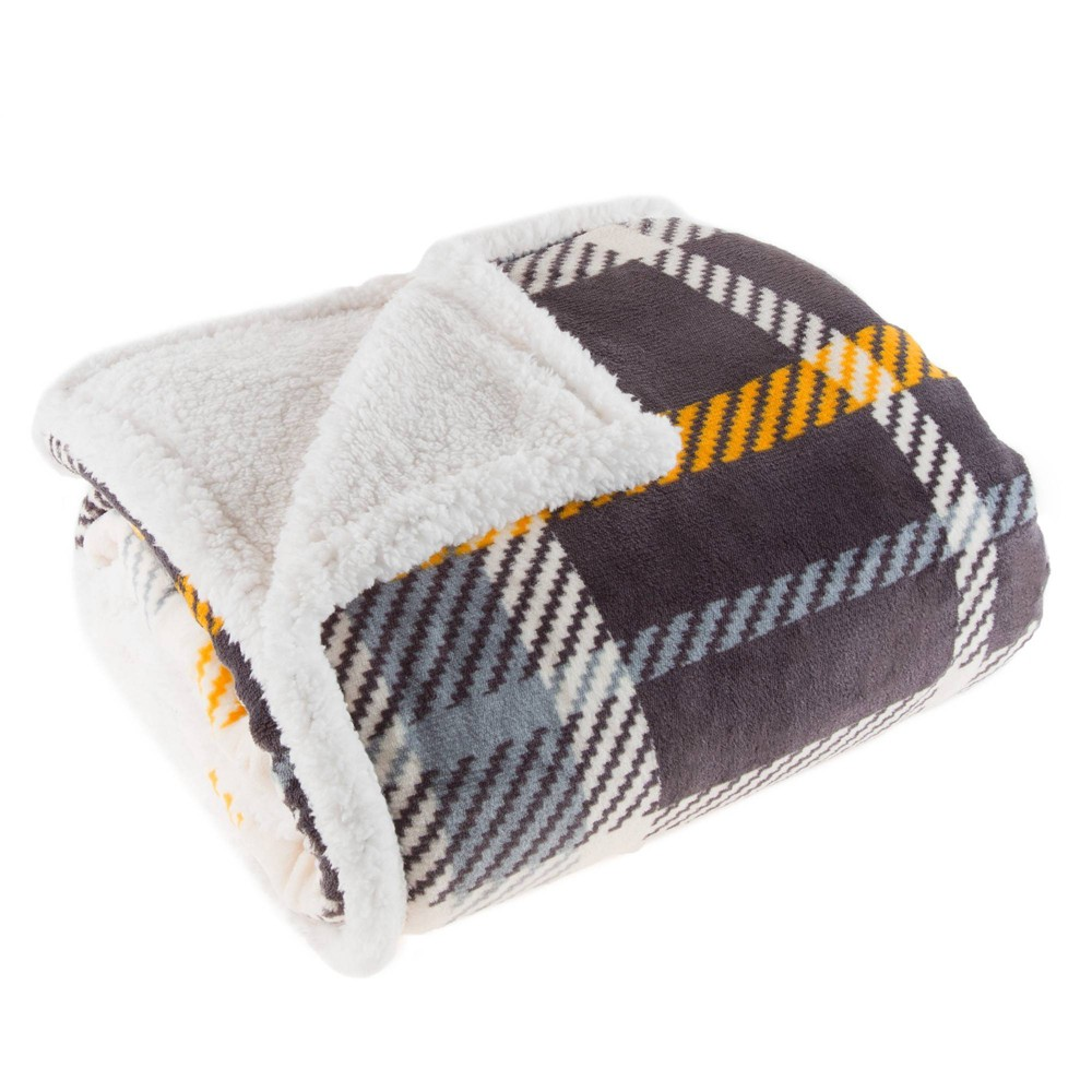 "Reviews 60""x50"" Fleece Sherpa Plaid Throw Blanket  - Yorkshire Home"