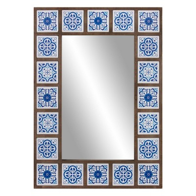"28"" x 38"" Moroccan Tile Framed Decorative Wall Mirror Wood/White/Indigo - Patton Wall Decor"