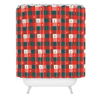 Zoe Wodarz Mini Tree Plaid Shower Curtain Red - Deny Designs