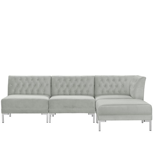 Superb 4Pc Audrey Diamond Tufted Sectional Light Gray Velvet And Silver Metal Y Legs Cloth Co Ibusinesslaw Wood Chair Design Ideas Ibusinesslaworg