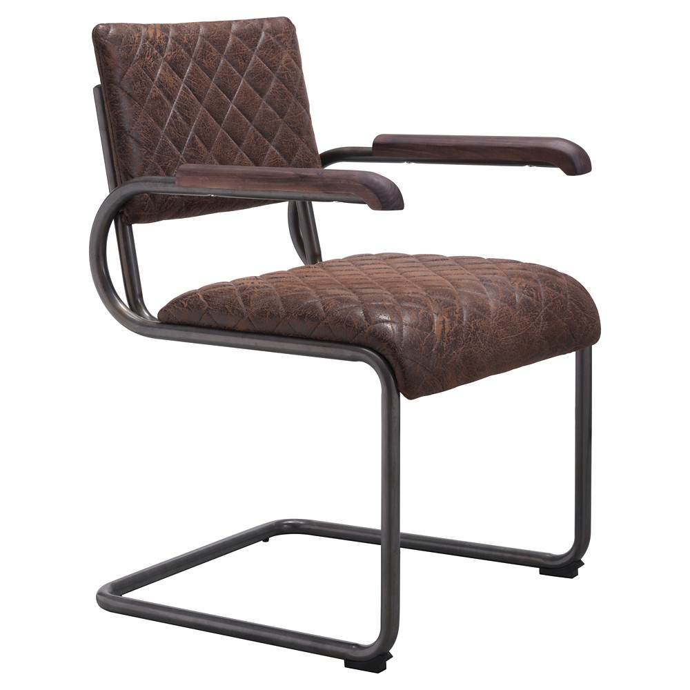 Distressed Upholstered and Dark Steel Dining Chair (Set of 2) - Vintage Brown - ZM Home