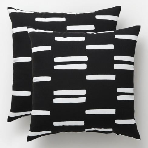 Ed Stripe Outdoor Pillows Black