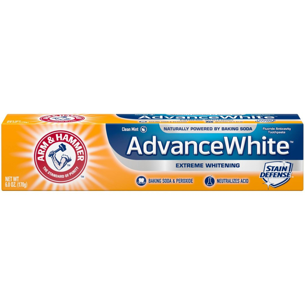 Arm and Hammer Advance White Extreme Whitening Toothpaste gives you an ultra white smile while still working hard to keep your teeth clean. It?s specially formulated with peroxide for extra whitening power. Our Stain Defense technology prevents new stains from setting. All that combined with the gentle power of Arm and Hammer Baking Soda to safely whiten gives you something to smile about. It?s specially formulated with refined dental grade baking soda to give you a noticeably whiter, brighter smile. The fluoride cavity protection and enamel strengthening formula removes more plaque in hard to reach places than a non-baking soda toothpaste. You get a deep clean that penetrates in between teeth and along the gum line to remove plaque and stains. It also includes a tartar control agent that helps keep tartar from forming. It?s a low abrasion formula, so the enamel won?t be damaged. The baking soda also neutralizes acids that weaken and erode enamel. Your teeth will look whiter and healthier and you?ll know they?re getting a deep clean. Plus, the Clean Mint flavor leaves your breath fresh. Includes three 6 oz. tubes of Arm and Hammer Advance White Extreme Whitening Toothpaste. For stronger, healthier teeth and gums*, choose Arm and Hammer Baking Soda toothpastes. Versatile and affordable. Gentle yet powerful. For generations of families, Arm and Hammer Baking Soda has been the standard of purity, and a trusted household staple in millions of cabinets and pantries. Our toothpastes and many of our personal care products are made with Arm and Hammer Baking Soda, delivering the quality you can count on, from the brand you trust. *when used as part of a complete brushing routine Size: 1. Gender: unisex. Age Group: adult.