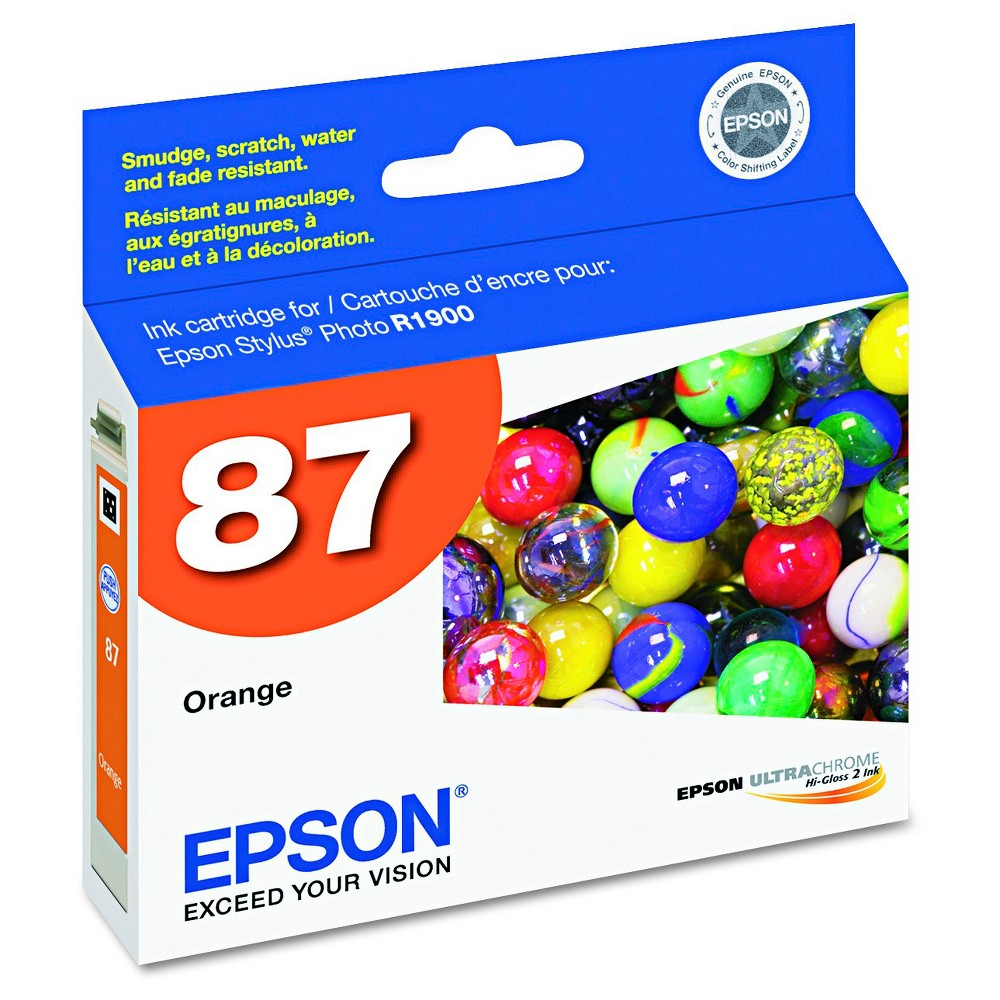 Epson 87 Single Ink Cartridge - Orange (EPST087920) Brilliant color is delivered with the Epson UltraChrome Hi-Gloss 87 Inkjet Cartridge - Orange (EPST087920). The Epson printer ink works with high-volume print jobs to deliver consistent color on your professional and home-based print jobs. The printer ink cartridge is compatible with the Epson Stylus Photo R1900.