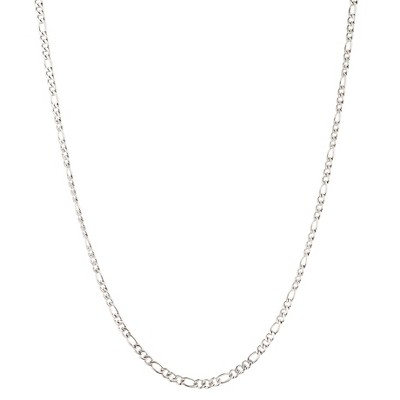 "Men's Stainless Steel Figaro Chain Necklace (3mm) - Silver (24"")"