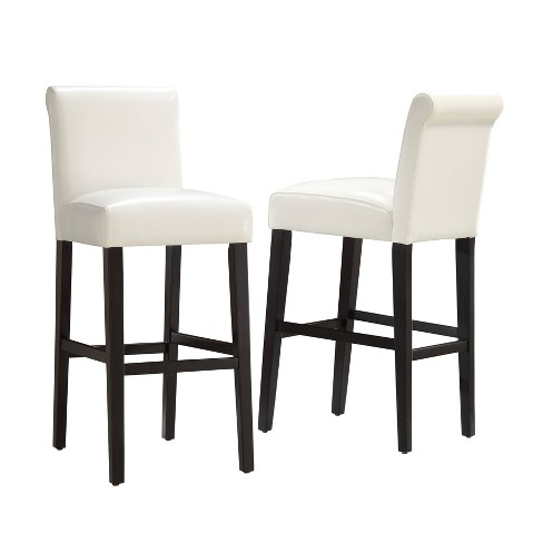 Surprising 29 Set Of 2 Vermont Faux Leather Barstool White Inspire Q Machost Co Dining Chair Design Ideas Machostcouk