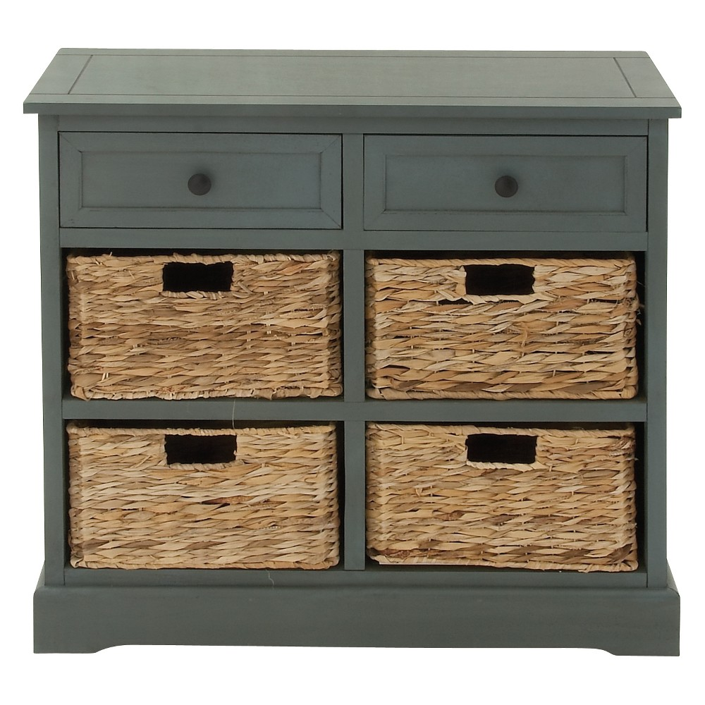 Wood Console 4 Wicker Baskets 2 Drawers Blue - Olivia & May