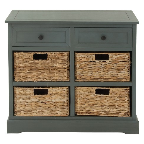 Wood Console 4 Wicker Baskets 2 Drawers Blue - Olivia & May - image 1 of 7