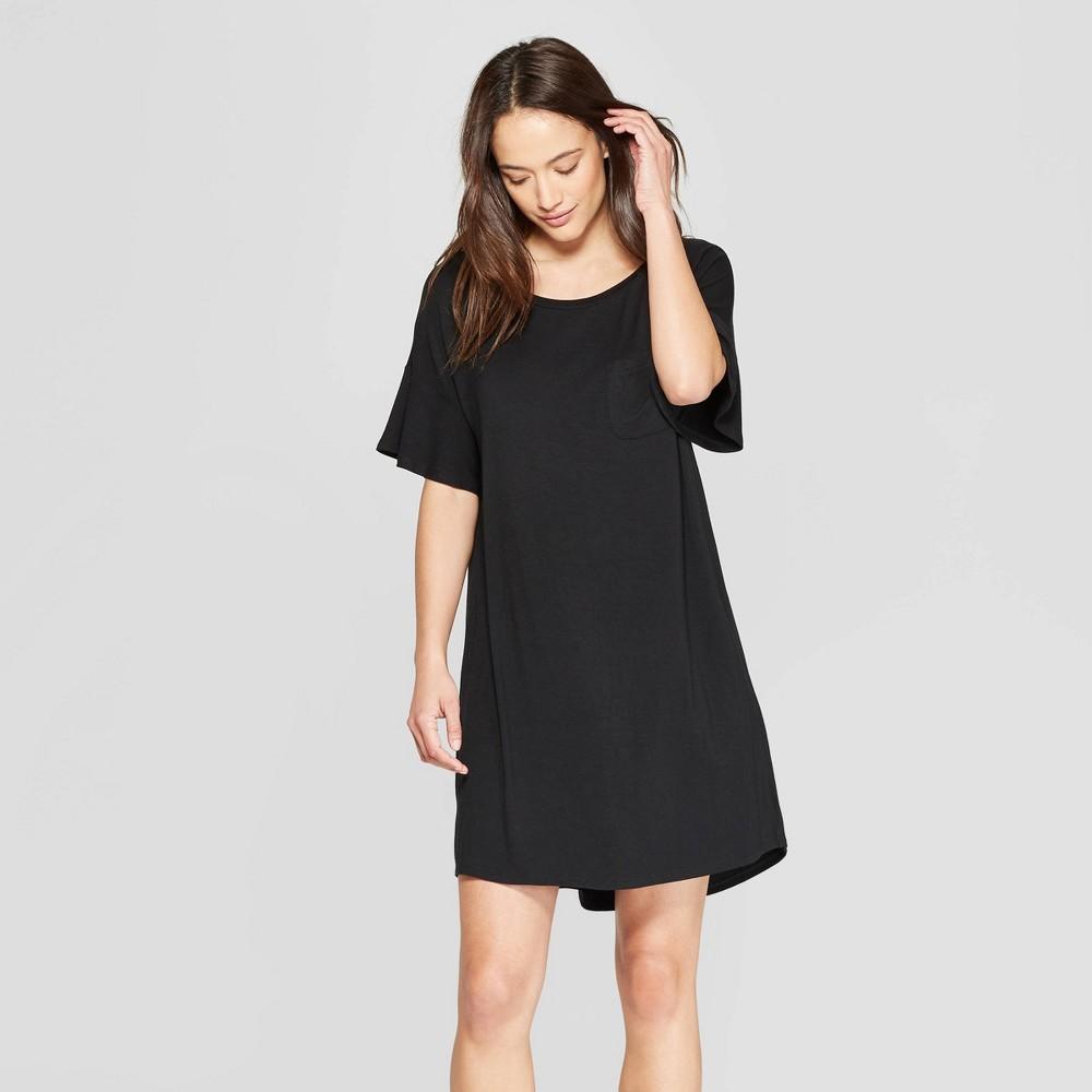 Women's Beautifully Soft Short Sleeve Nightgown - Stars Above Black Xxl