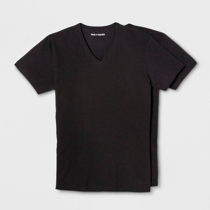 Pair of Thieves Men's 2pk V-Neck Undershirt - Black - image 1 of 2