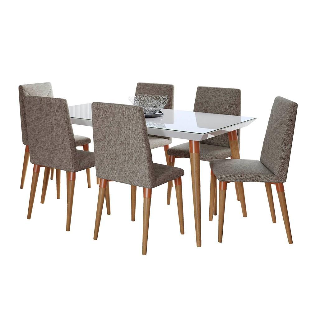62.99 7pc Utopia Dining Set Gloss White/Gray - Manhattan Comfort