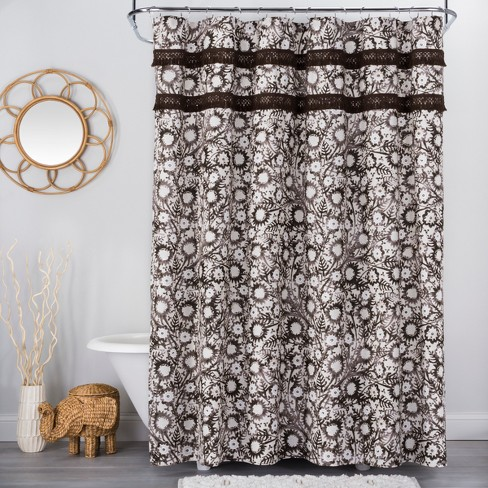 Botanical Print With Fringe Shower Curtain Brown White