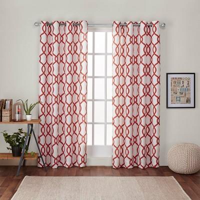 """Set of 2 63""""x54"""" Kochi Linen Blend Grommet Top Window Curtain Panel Mecca Orange - Exclusive Home"""