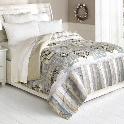 Lakeside Cotton Boll Bedding Comforter with Blessed and Home Sentiments