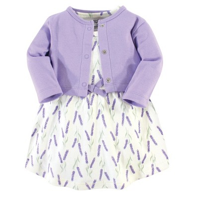 Touched by Nature Baby and Toddler Girl Organic Cotton Dress and Cardigan 2pc Set, Lavender