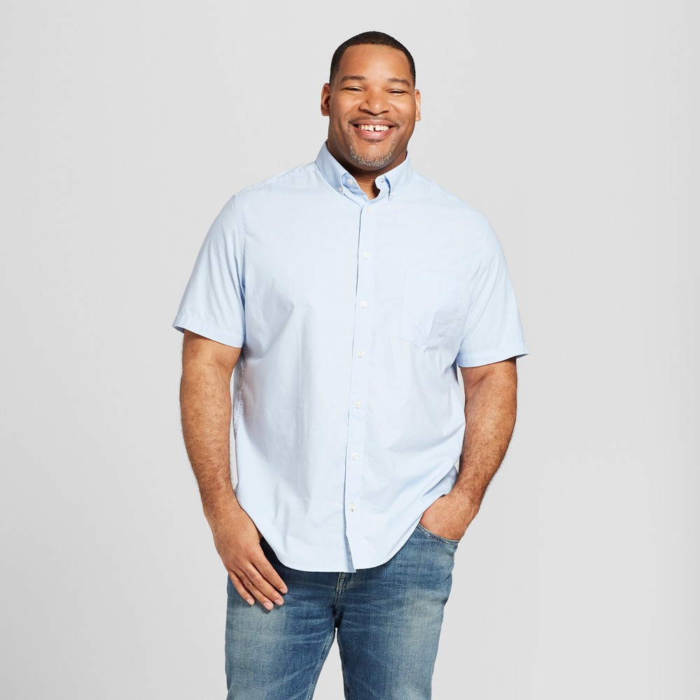 Men's Big & Tall Short Sleeve Button-Down Shirt - Goodfellow & Co Bayshore Blue 4XB