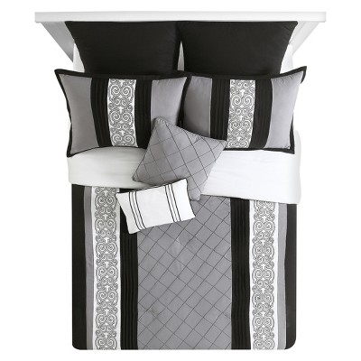 Black&White Farion Pleated Scroll Comforter Set (King)8 Piece - VCNY®