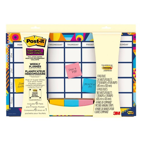"""Undated Post-it 18"""" x 12"""" Super Sticky Weekly Planner - image 1 of 3"""