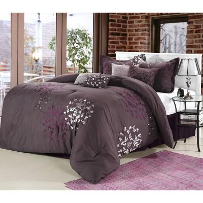 Queen 8pc Chelsia Comforter Set Purple - Chic Home Design