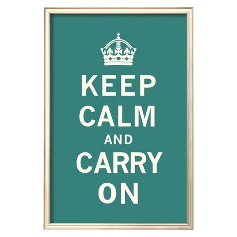 art com keep calm and carry on teal art print target