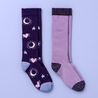 Girls' 2pk Knee High Socks - More Than Magic™ Assorted Colors M