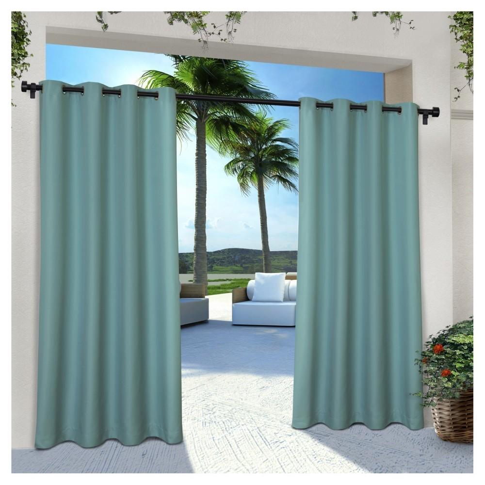 Indoor/Outdoor Solid Cabana Grommet Top Window Curtain Panel Pair Teal (Blue) (54