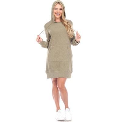 Women's Hoodie Sweatshirt Dress - White Mark