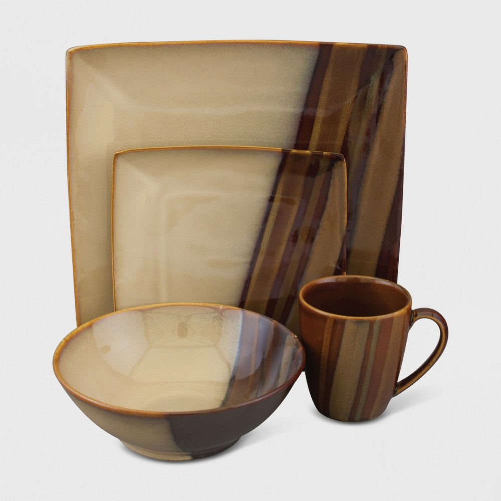 Image of 16pc Stoneware Avanti Dinnerware Set Brown - Sango