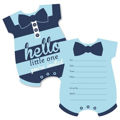 Big Dot of Happiness Hello Little One - Blue and Navy - Shaped Fill-in Invitations - Boy Baby Shower Invitation Cards with Envelopes - Set of 12