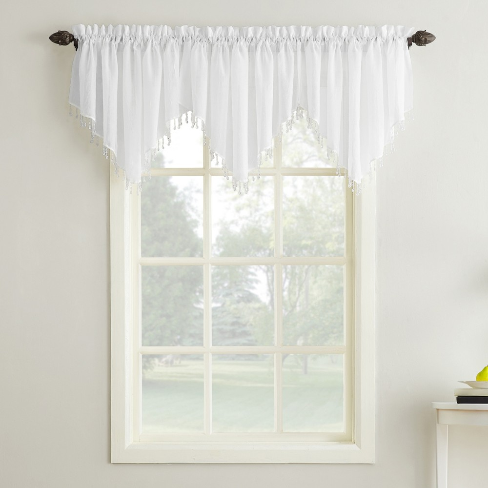 Erica Crushed Sheer Voile Beaded Ascot Curtain Valance Wh...