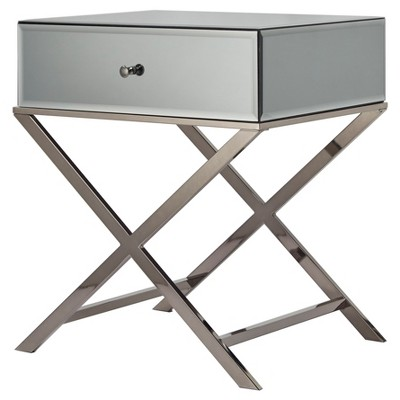 Whitney Mirrored Campaign Accent Table   Gray Nickel   Inspire Q : Target