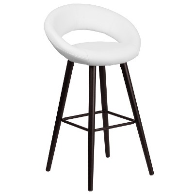 Flash Furniture Kelsey Series 29'' High Contemporary Cappuccino Wood Barstool in White Vinyl