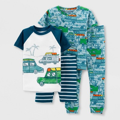 Toddler Boys' 4pc Beach Vehicles Pajama Set - Just One You® made by carter's White/Green/Gray