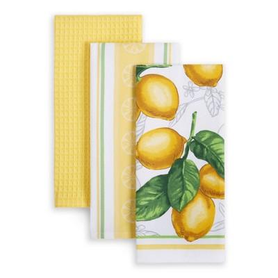 Martha Stewart 3pk Cotton Lots of Lemons Printed Kitchen Towels