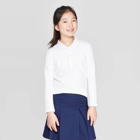 Girls' Long Sleeve Interlock Uniform Polo Shirt - Cat & Jack™ - image 1 of 3